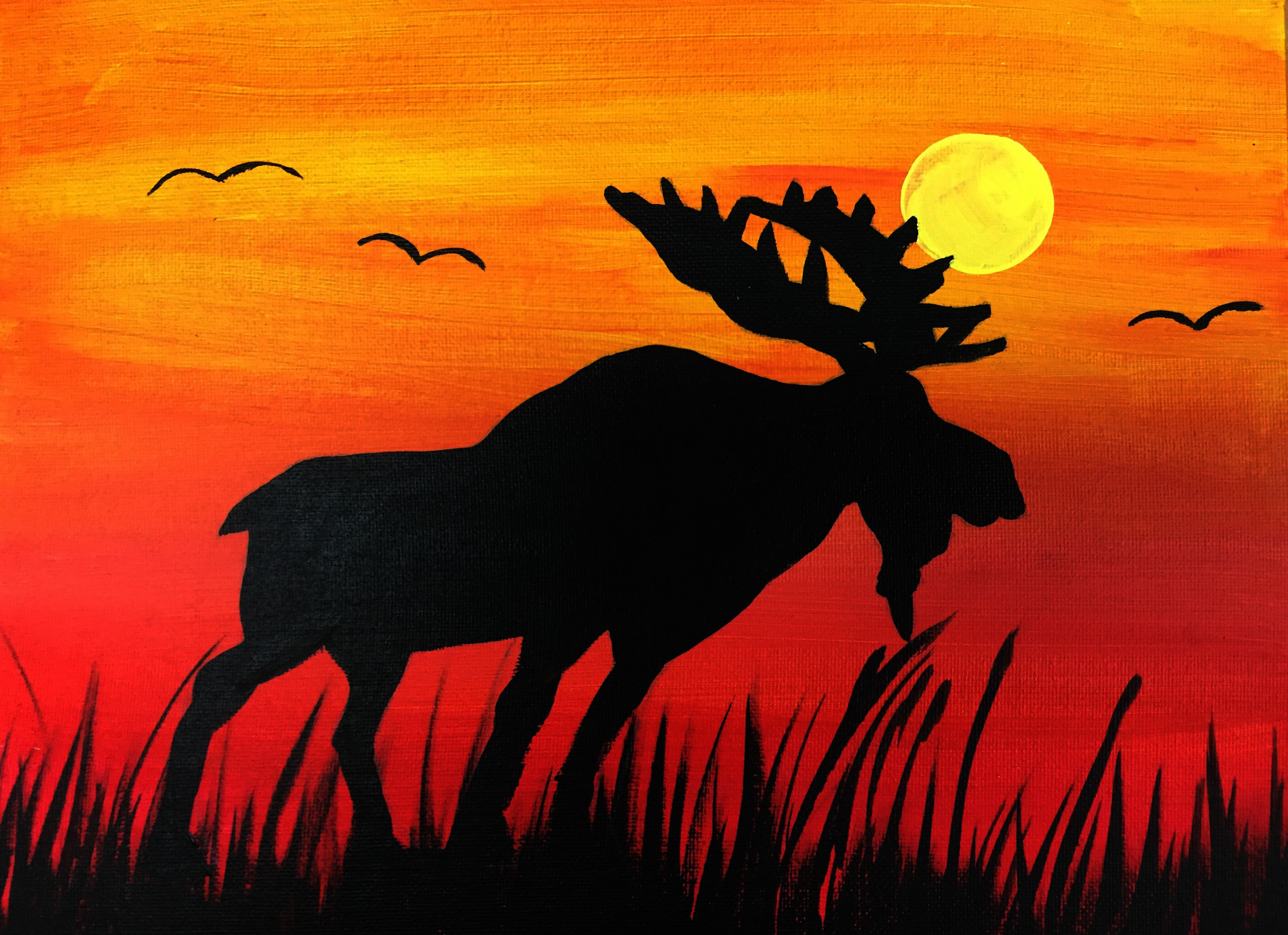 Cool Moose In Sun Set Painting