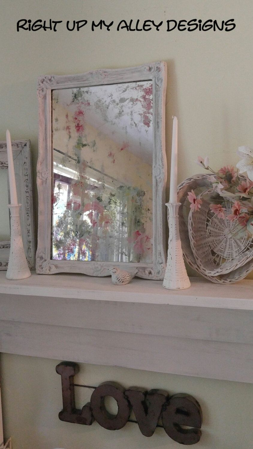 Shabby Chic Bedroom Mirror Vintage Mirroracid Wash Mirrorpink Decorshabby Chic Mirror