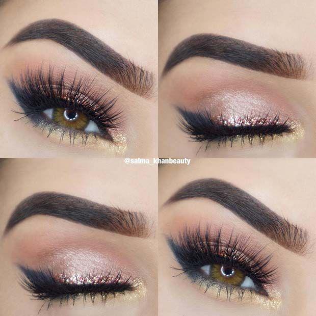 41 Gorgeous Makeup Ideas for Brown Eyes #glittereyeliner