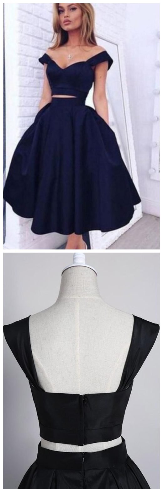 Two Pieces Off Shoulder Navy Blue Short Homecoming Dresses,Short Prom Gowns