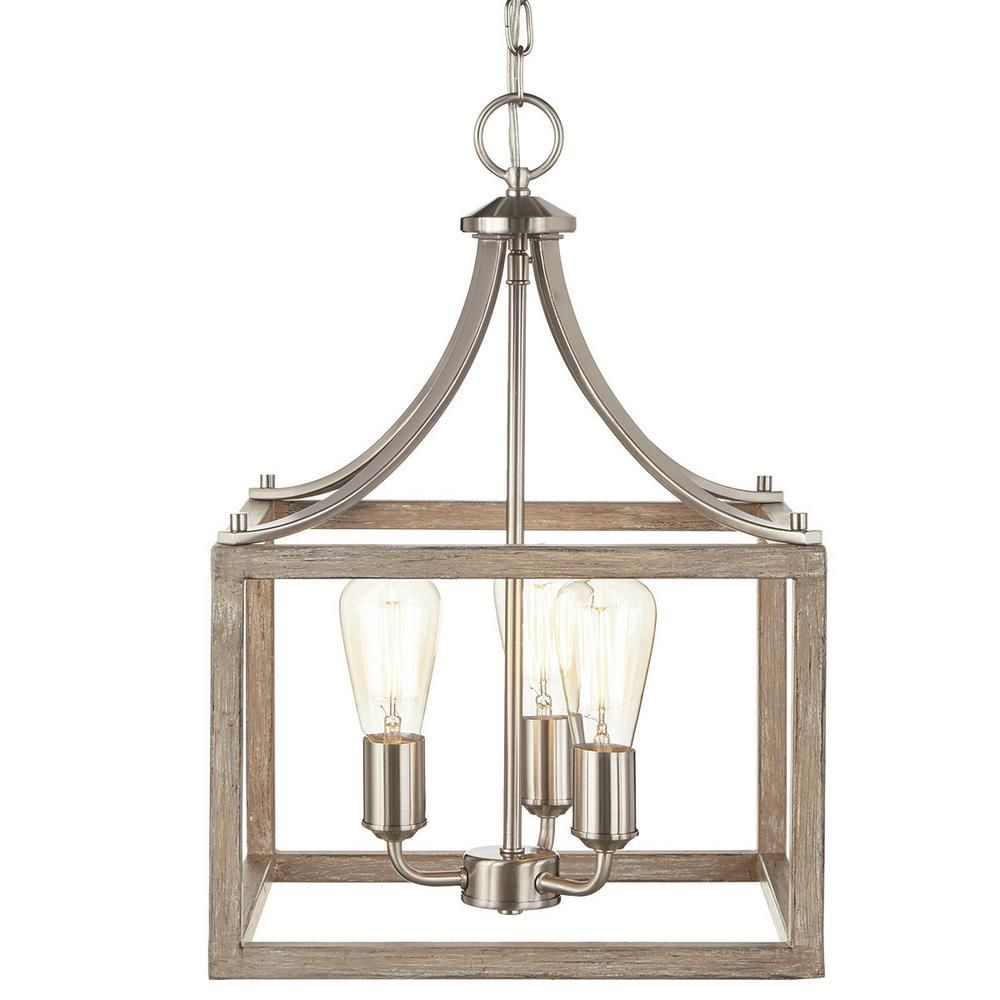 Home Decorators Collection Boswell Quarter Collection 3 Light Brushed  Nickel Pendant With Painted Weathered Gray