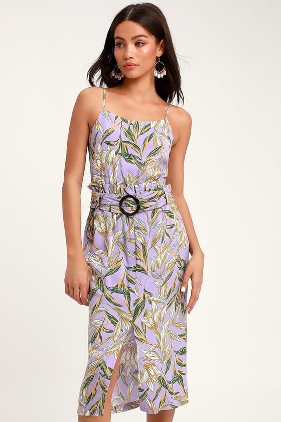 4f44180eb5c4 The J.O.A. Raya Lavender Floral Print Belted Midi Dress has us dreaming of  palm tree-lined paths and resort reservations! A trendy circle belt adds ...
