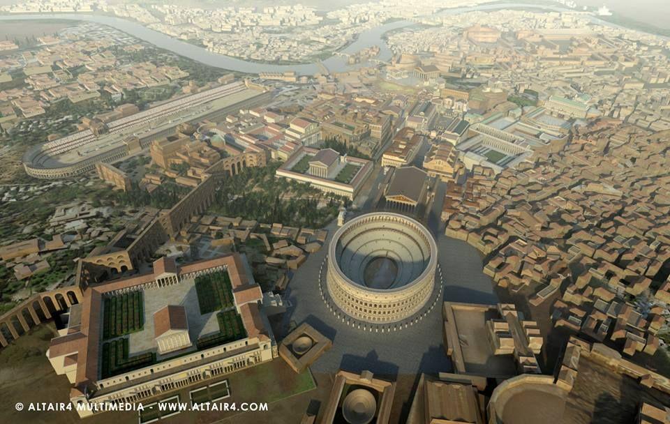 Panorama di roma dall 39 alto pianta com 39 era in tempi for Architettura e design roma