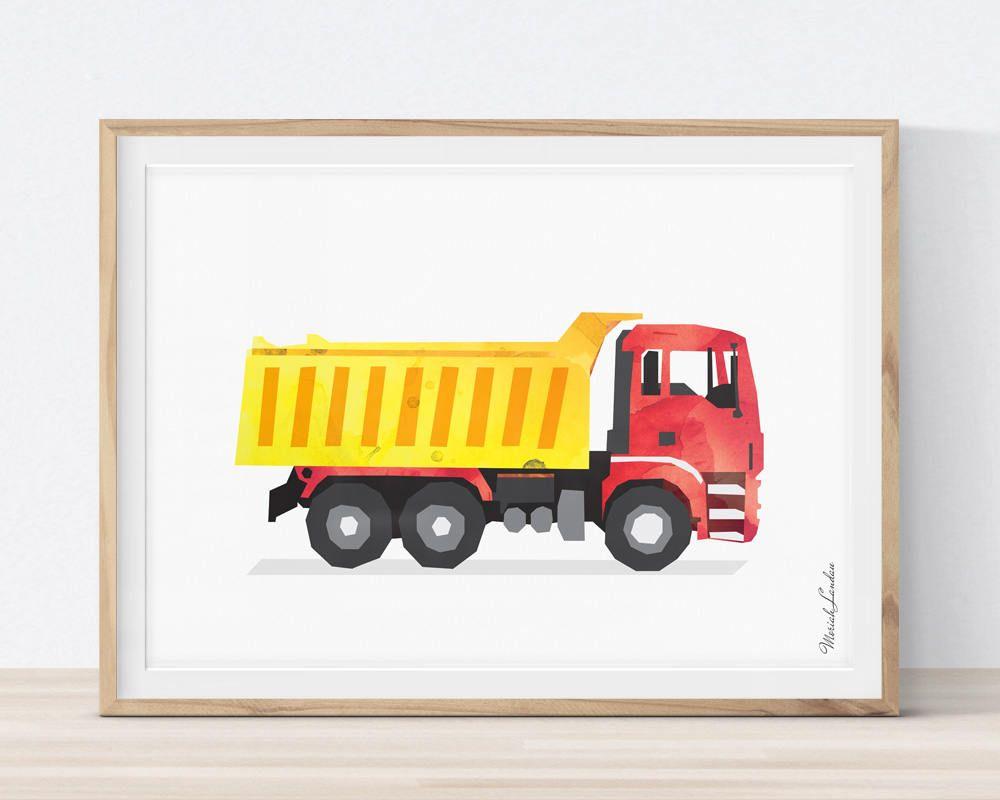 Dump Truck Wall Art, Dump Truck Art Print, Construction, Trucks ...