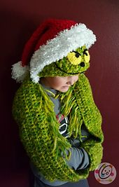 Hooded Holiday Scarf pattern by Heidi Yates #grinchscarfcrochetpatternfree