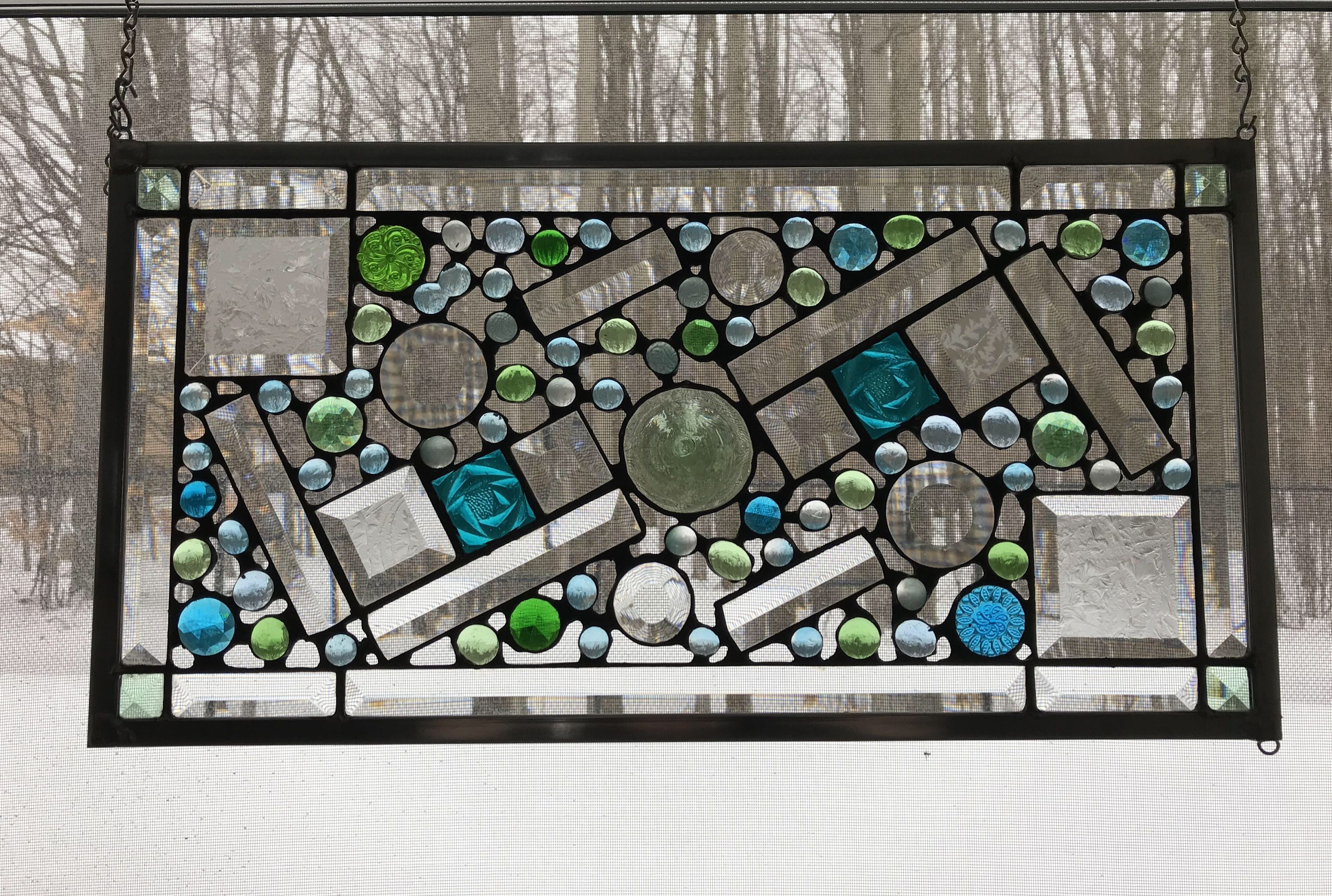 Clear Abstract Panel with Blue and Green Jewels Stained