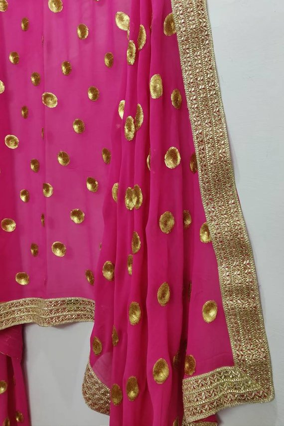 Women Mirror Work Chiffon Dupatta Stole Party Wear Scraf Scarves Chunni
