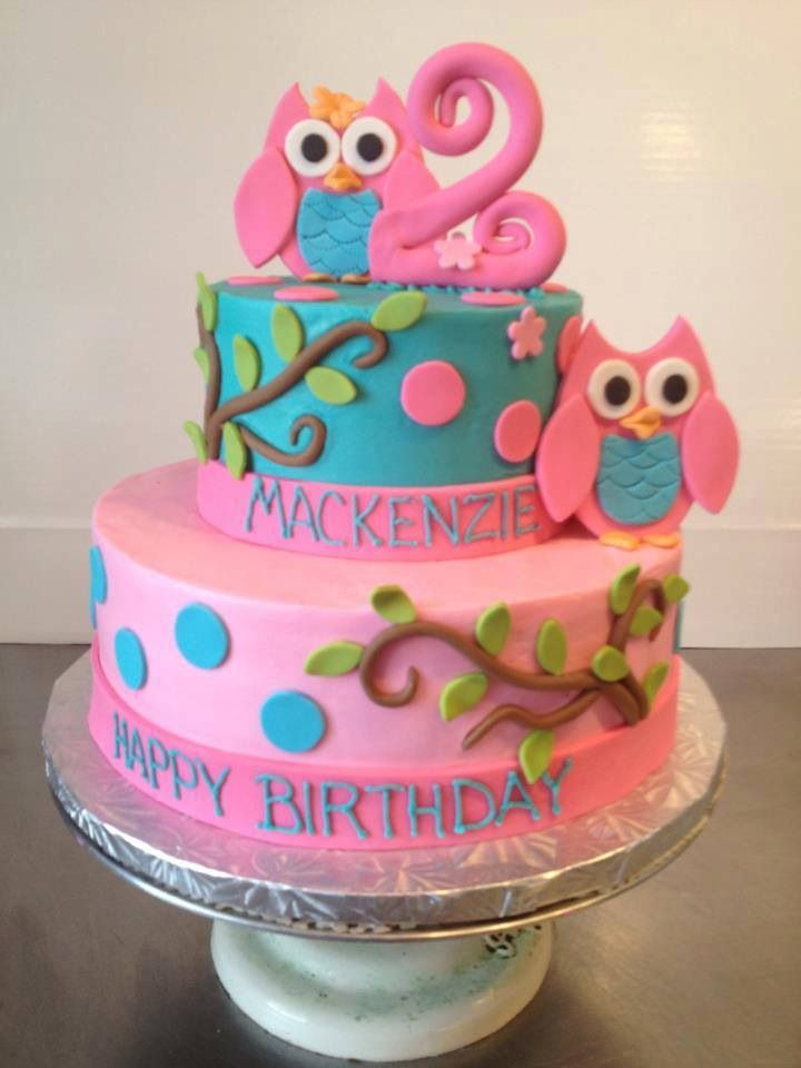 Owl cake Brooke birthday she said less pink though Cakes 4 Mom