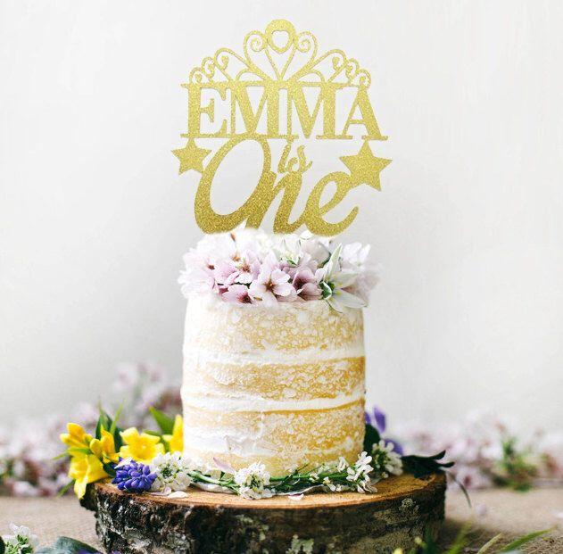 Princess Cake Topper, Personalized Tiara Cake Topper, Birthday Crown ...