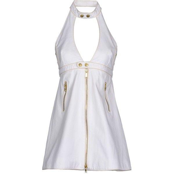 Dsquared2 Short Dress ($295) ❤ liked on Polyvore featuring dresses, white, mandarin collar dress, white sleeveless dress, stretchy dresses, short sleeveless dress and mini dress