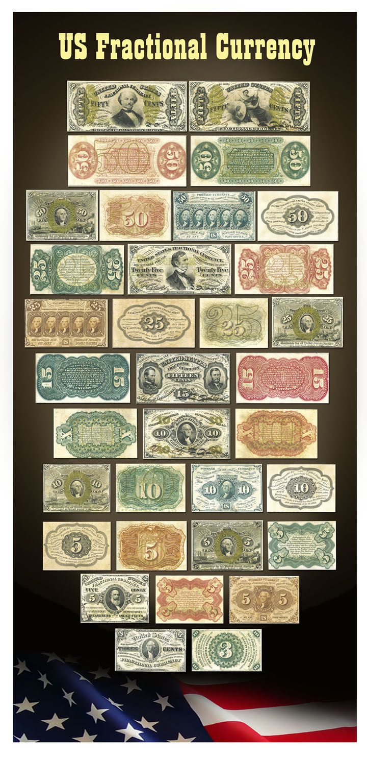 America Fractional Currency Poster Money Notes Valuable