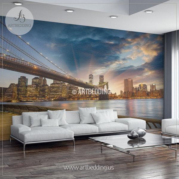Beautiful brooklyn bridge new york cityscape wall mural usa photo sticker usa wall decor