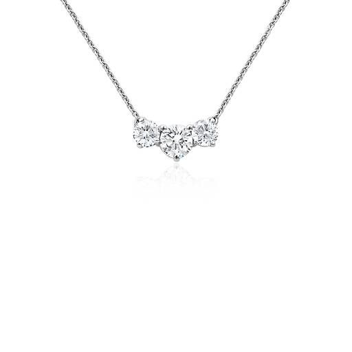Three stone diamond necklace in 18k white gold 1 ct tw white blue nile three stone diamond necklace in 18k white gold 1 ct tw aloadofball Image collections
