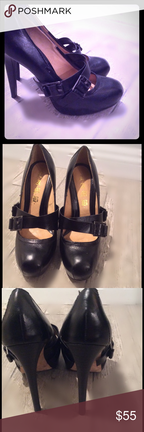 L.A.M.B. Mary Jane Black Heels
