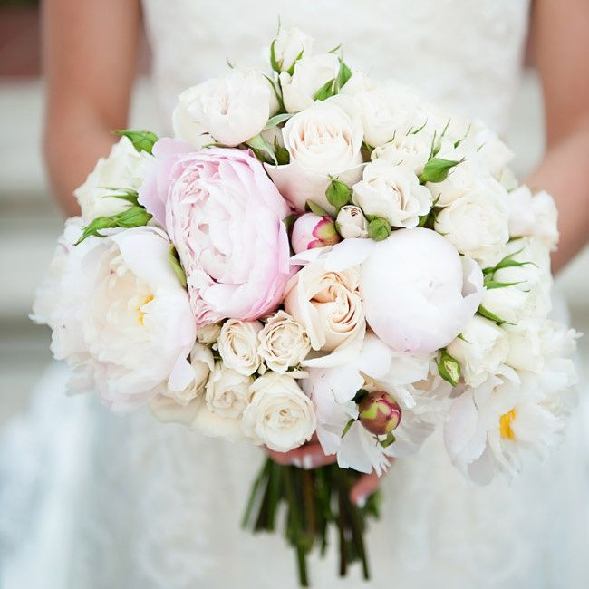 Bridal bouquet of white roses and light pink peonies | Amanda Pair Photography