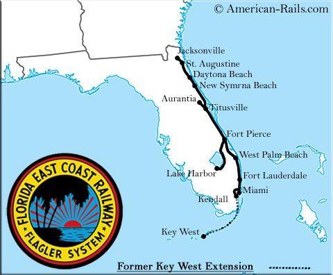 Florida East Coast Railway Map The Florida East Coast Railway | Florida east coast, East coast