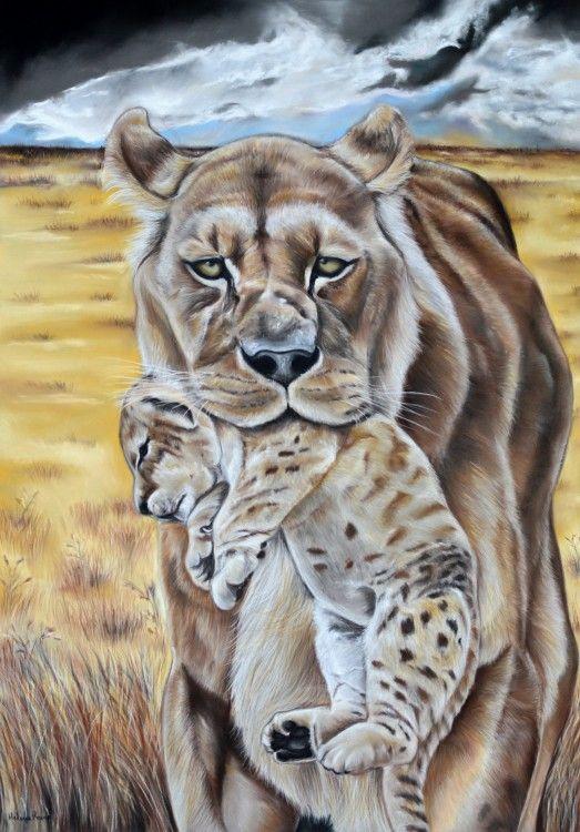 Dessin d 39 un lionne d 39 afrique avec son lionceau dans la savane africaine r alis au pastel sec - Dessin africaine ...