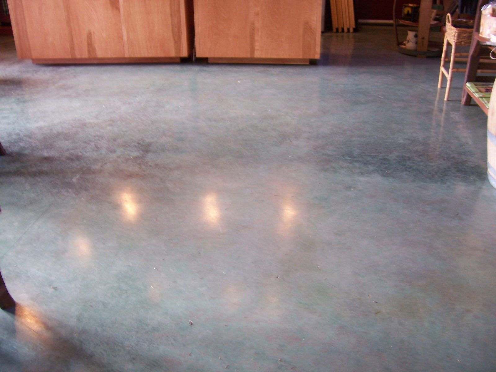 Gray blue concrete acid stain cafe pinterest acid for Are concrete floors cold