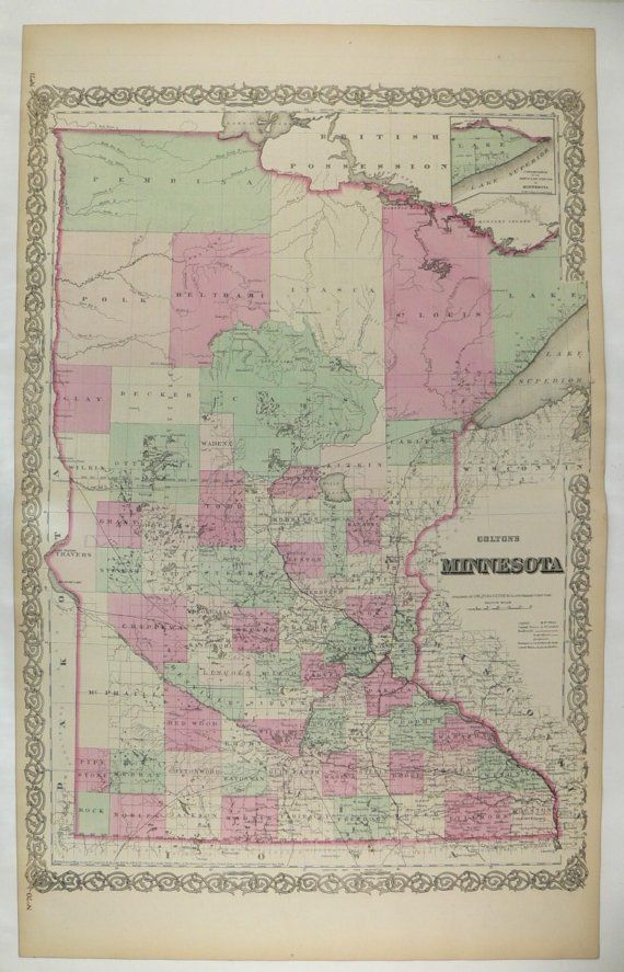 Old Minnesota Map Wisconsin 1870 Colton Map, Great Lakes Map ...