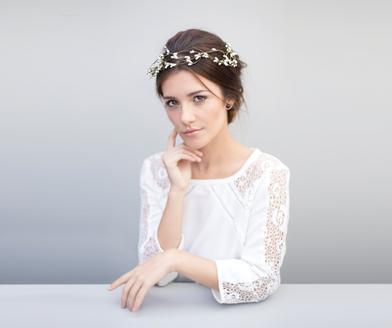 Hair Garland, Bridal Wreath, Off White Hair Crown - Luna by ...