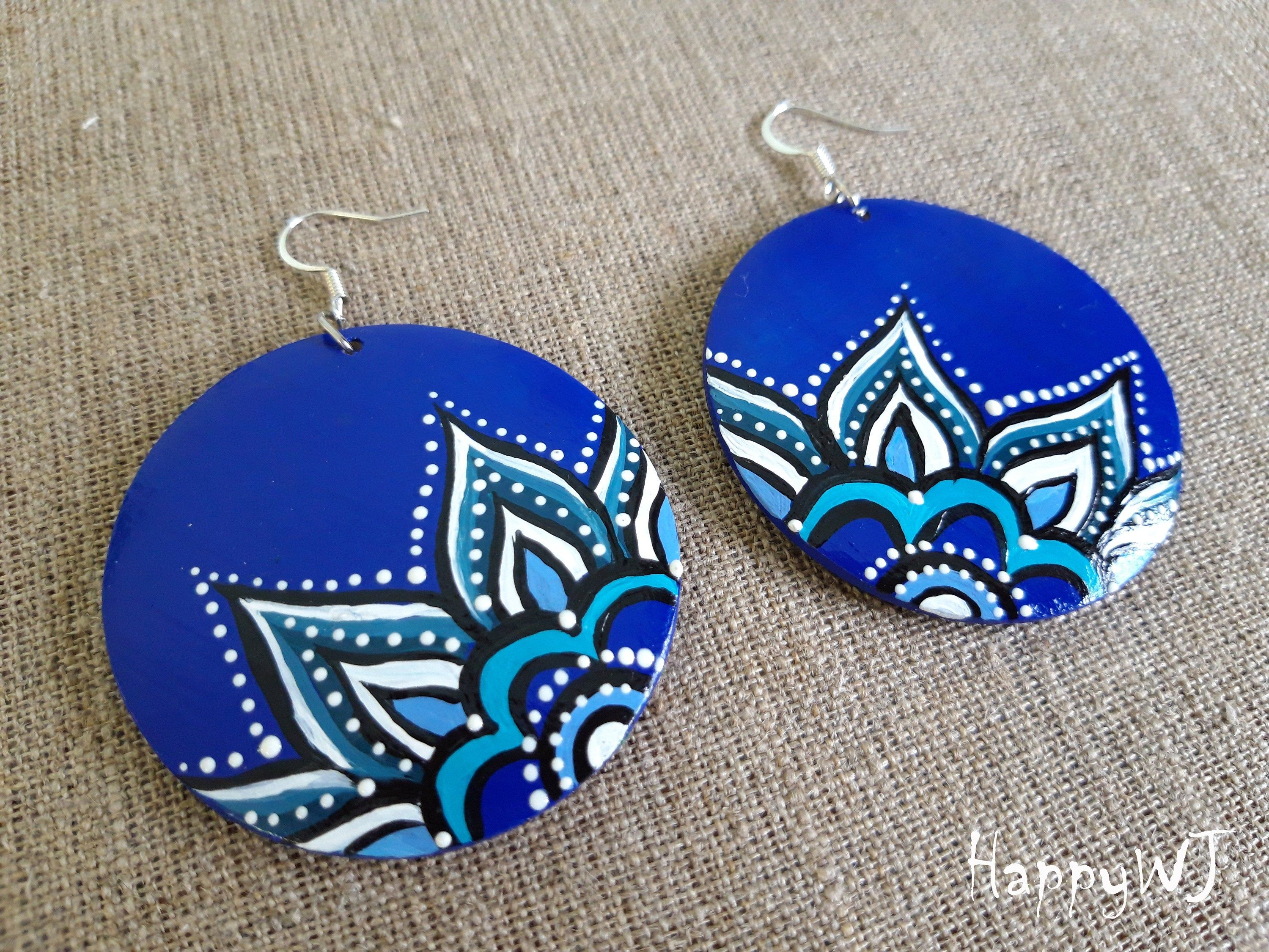 Excited To Share The Latest Addition To My Etsy Shop Mandala Earrings Wooden Earrings Hand Painted Jew Hand Painted Jewelry Fabric Jewelry Handmade Jewelry
