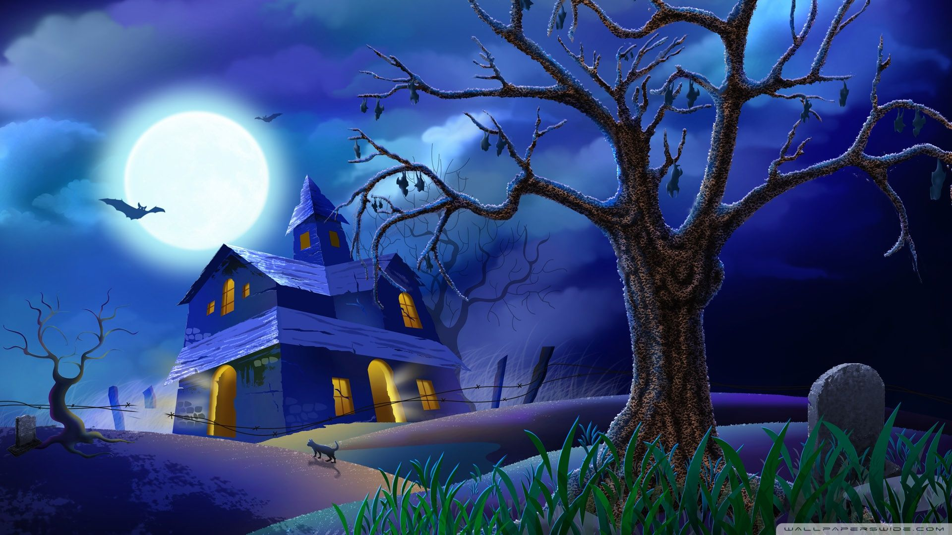 Witch On Broom Full Moon Hallowmas Halloween HD desktop