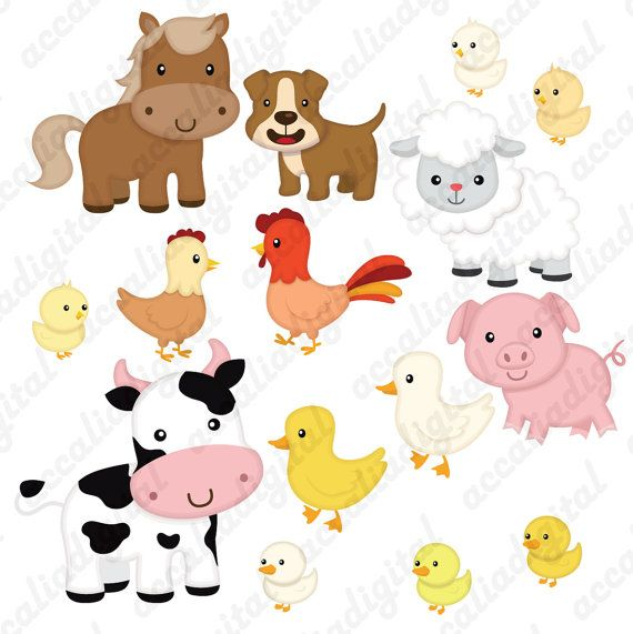 Farm Animal Clip Art Animal Friends Sticker Animal Buddy Etsy Animals Friends Farm Animals Animal Cards