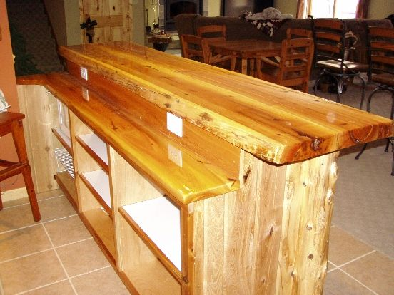 Custom bar top ideas level white cedar bar log corners for Basement bar dimensions plans