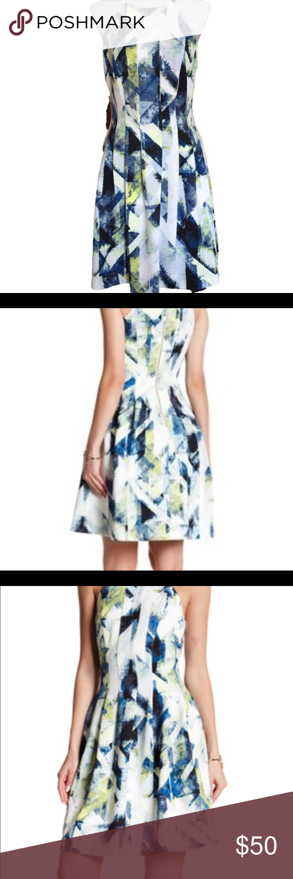 Vince Camuto Blue And Yellow Fit And Flare Dress Fit And Flare Dress Fit And Flare Clothes Design [ 1740 x 580 Pixel ]