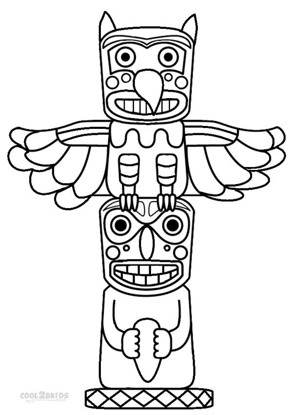 Totem pole coloring pages printable alaska pinterest for Totem pole design template