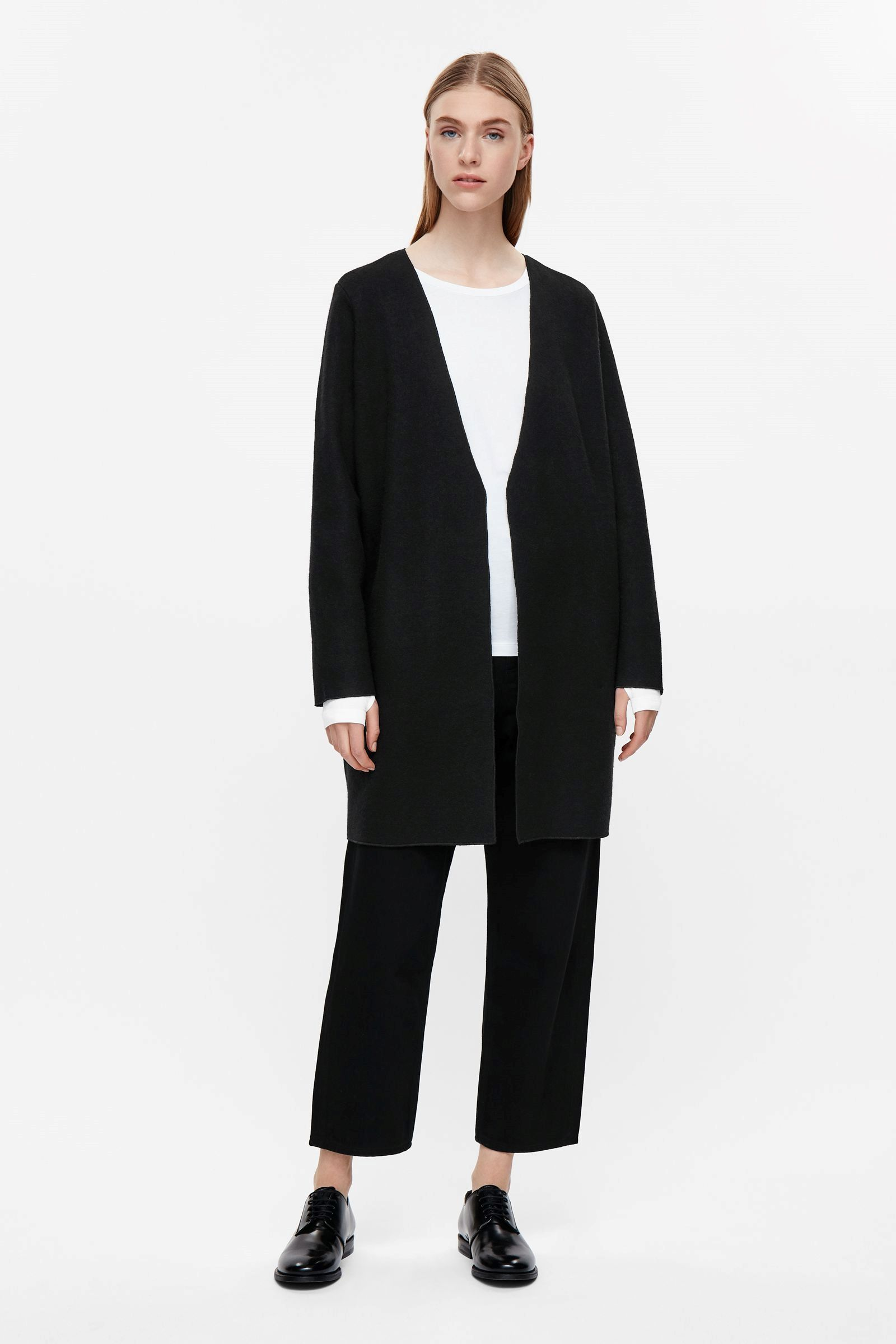 COS image 1 of Open-front wool cardigan in Black | Fashion ...