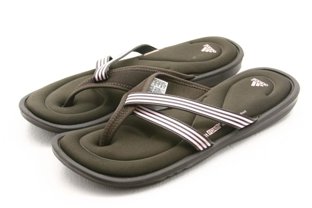 d3bbded1feba ADIDAS womens shoes size 11 FIT FOAM memory flip flops thong sandals BROWN  PINK  adidas  FlipFlops  style