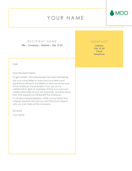 crisp and clean cover letter  designed by moo  coverletter
