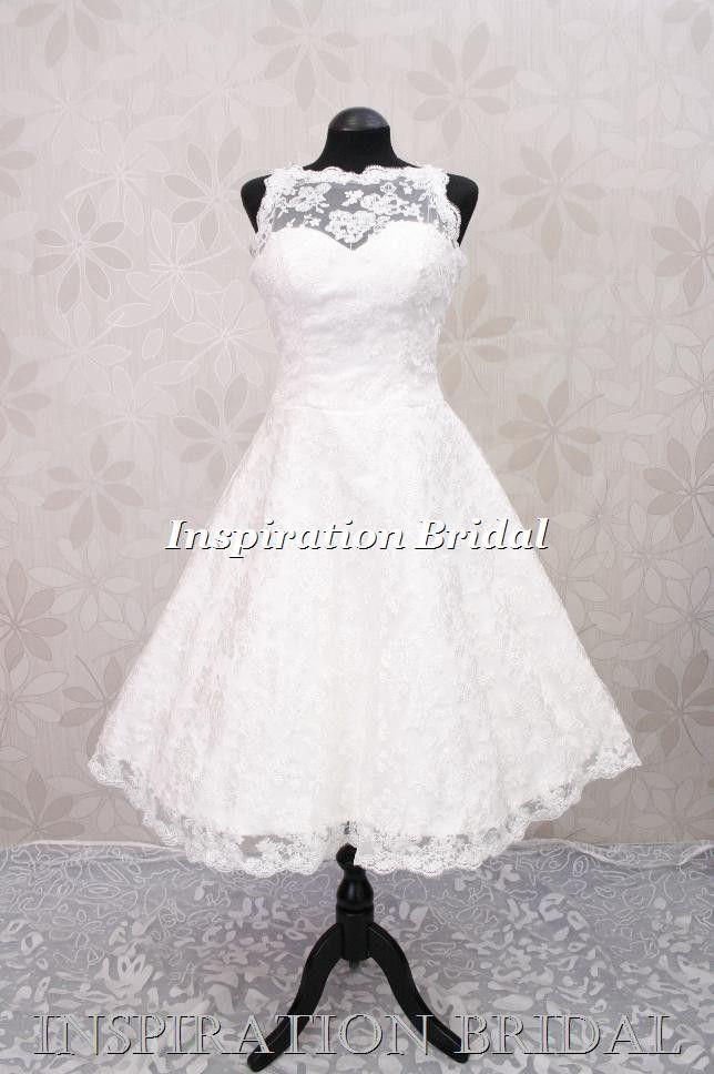 Wedding Dress Bridal Gown Short 60s 50s 1950s Vintage C268 Lace Tea Length New