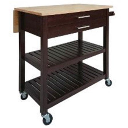 Winsome Wood Langdon Drop Leaf Kitchen Cart Cappuccino W Natural
