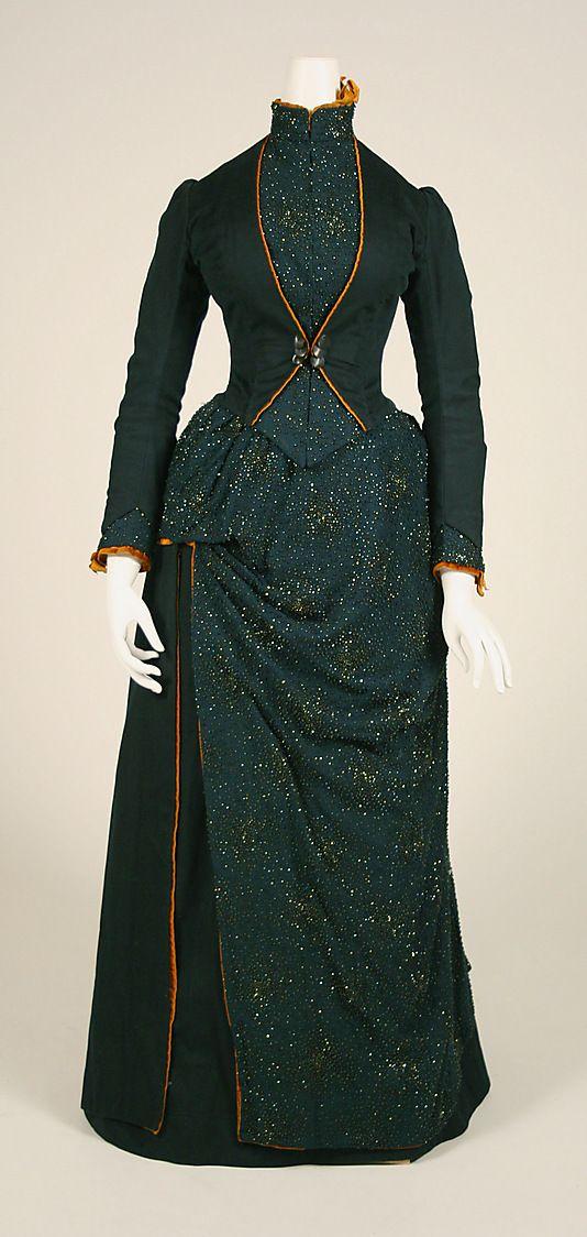 Wool and silk dress, American, 1887