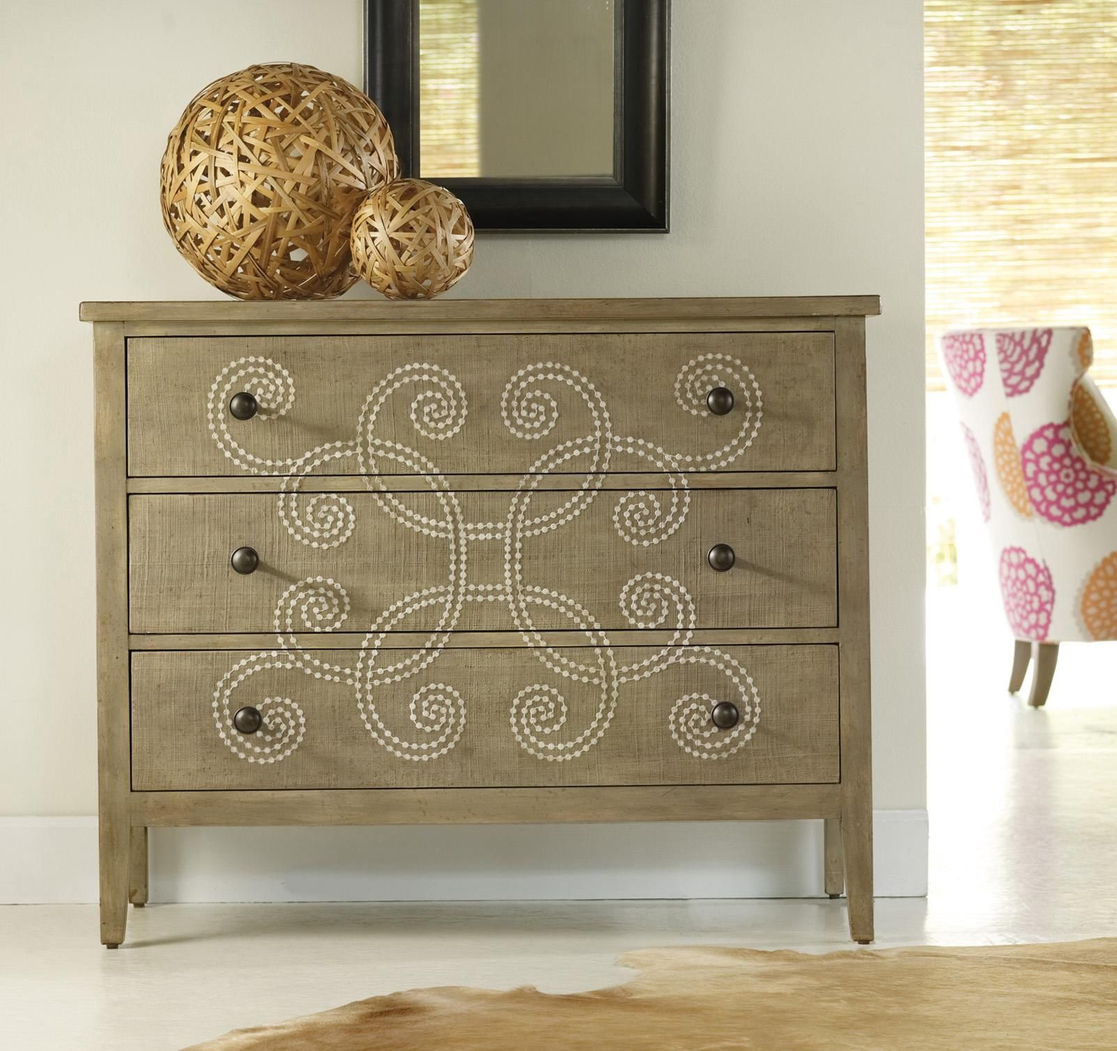 Such A Unique Piece Certainly Eye Catching And Perfect For Your Foyer Melange Three Drawer Curlacu Accent Chests And Cabinets Diy Furniture Painted Furniture