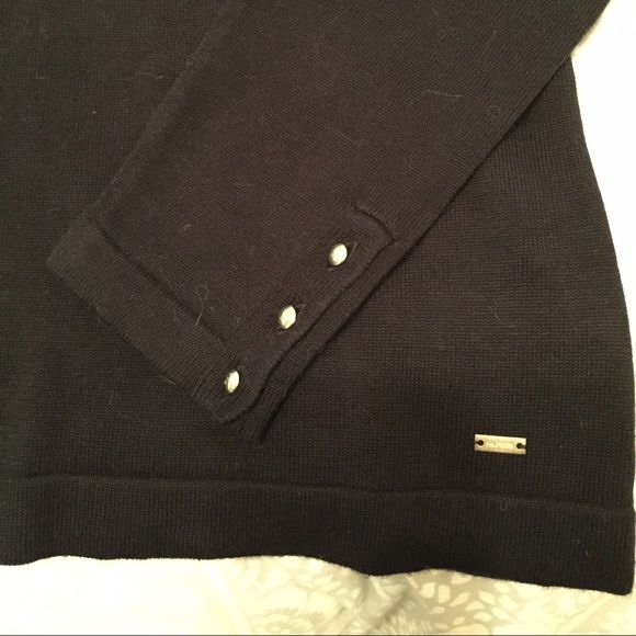 NWT- Black Tommy Hilfiger sweater Decorative golden metal buttons at each cuff. A slight boat neck collar. Tommy Hilfiger Sweaters Crew & Scoop Necks