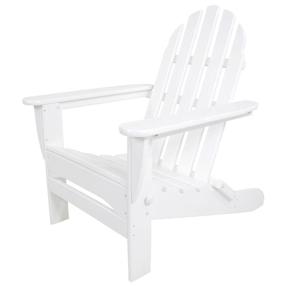 Polywood Classic White Folding Plastic Adirondack Chair Ad5030wh The Home Depot Adirondack Chairs Patio Folding Adirondack Chairs Polywood Adirondack Chairs
