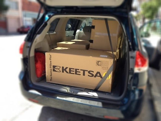4 Keetsa mattresses, all in the back of our customer's car! For sure, it is saving a lot of carbon footprints.