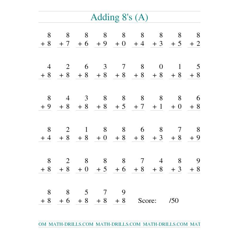 addition worksheet single digit addition 50 vertical questions adding eights all. Black Bedroom Furniture Sets. Home Design Ideas