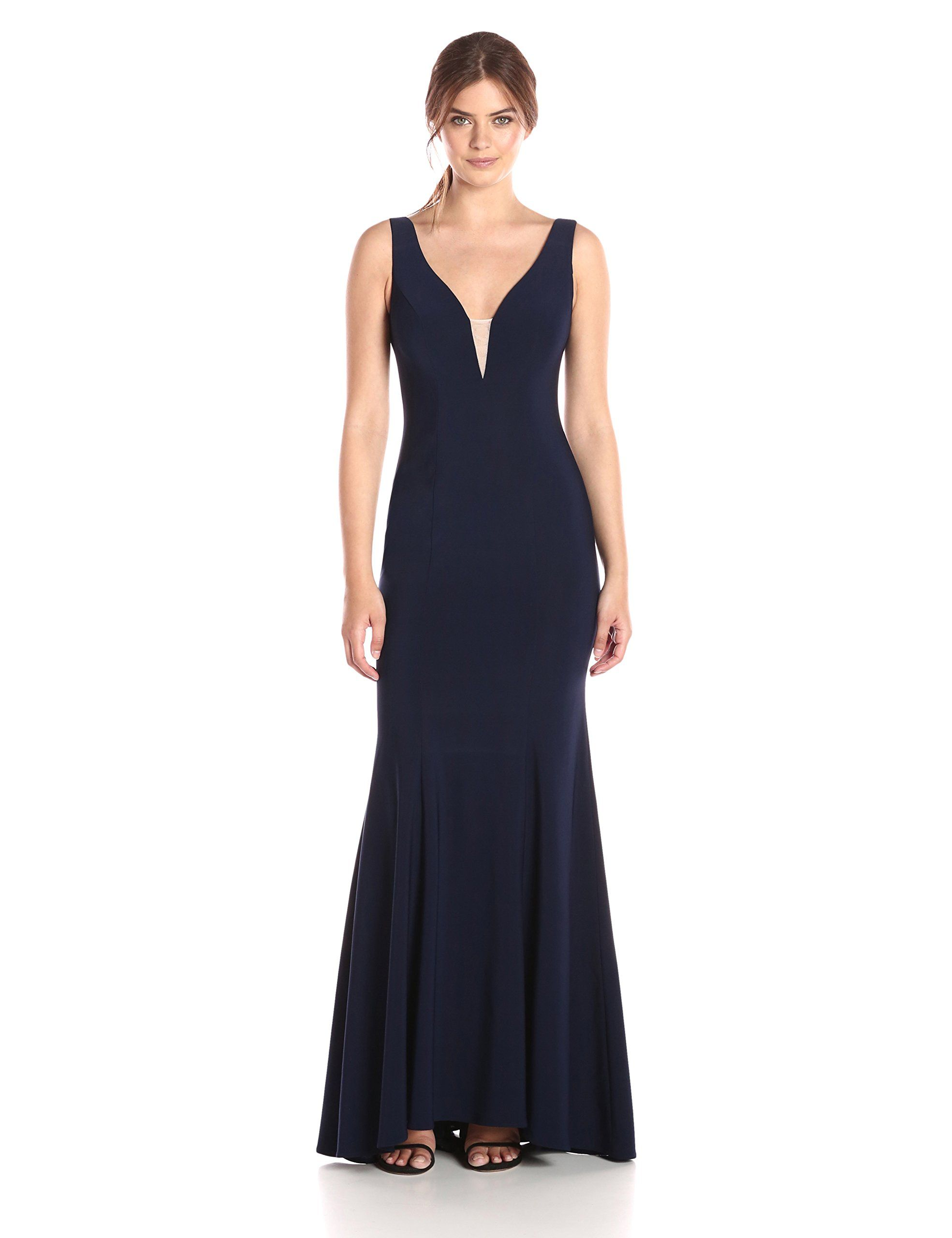 Xscape Womens Long Ity Vneck Dress Navy 4 * You can get more details ...