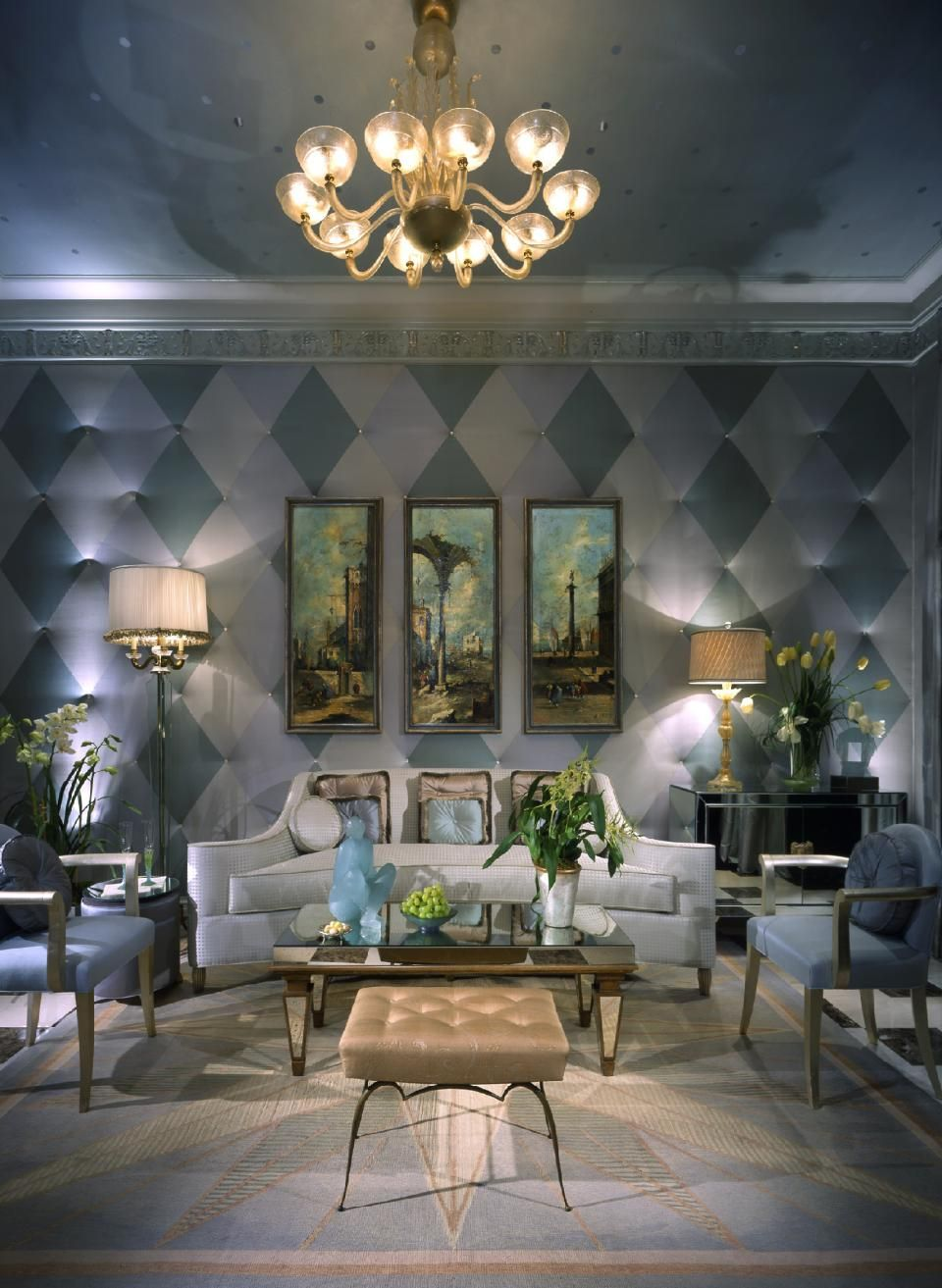 An antique chandelier can change the look of an entire for Art deco living room design