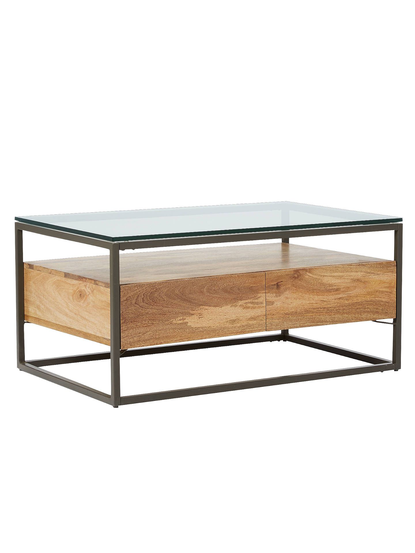 West Elm Storage Box Frame Coffee Table Raw Mango Online At Johnlewis