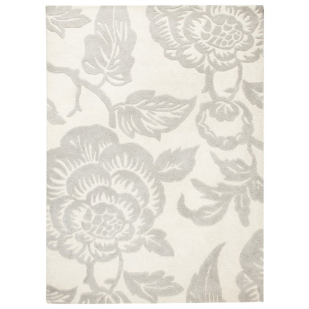 Grey White Zinnia Threshold Wool Floral Area Rug Shell For