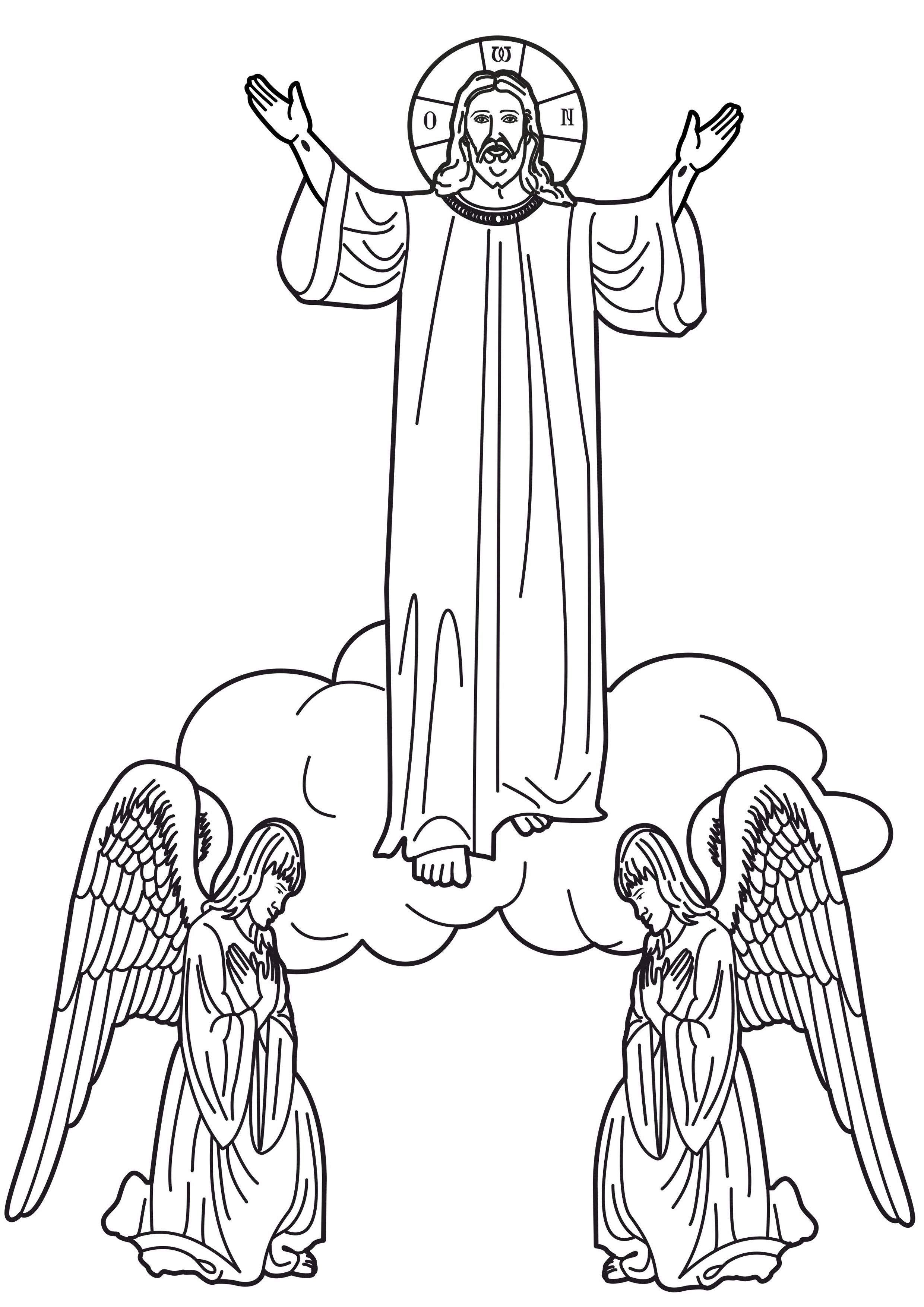 Christ S Ascension Into Heaven Coloring Page Jesus Coloring Pages Easter Coloring Pages Catholic Coloring