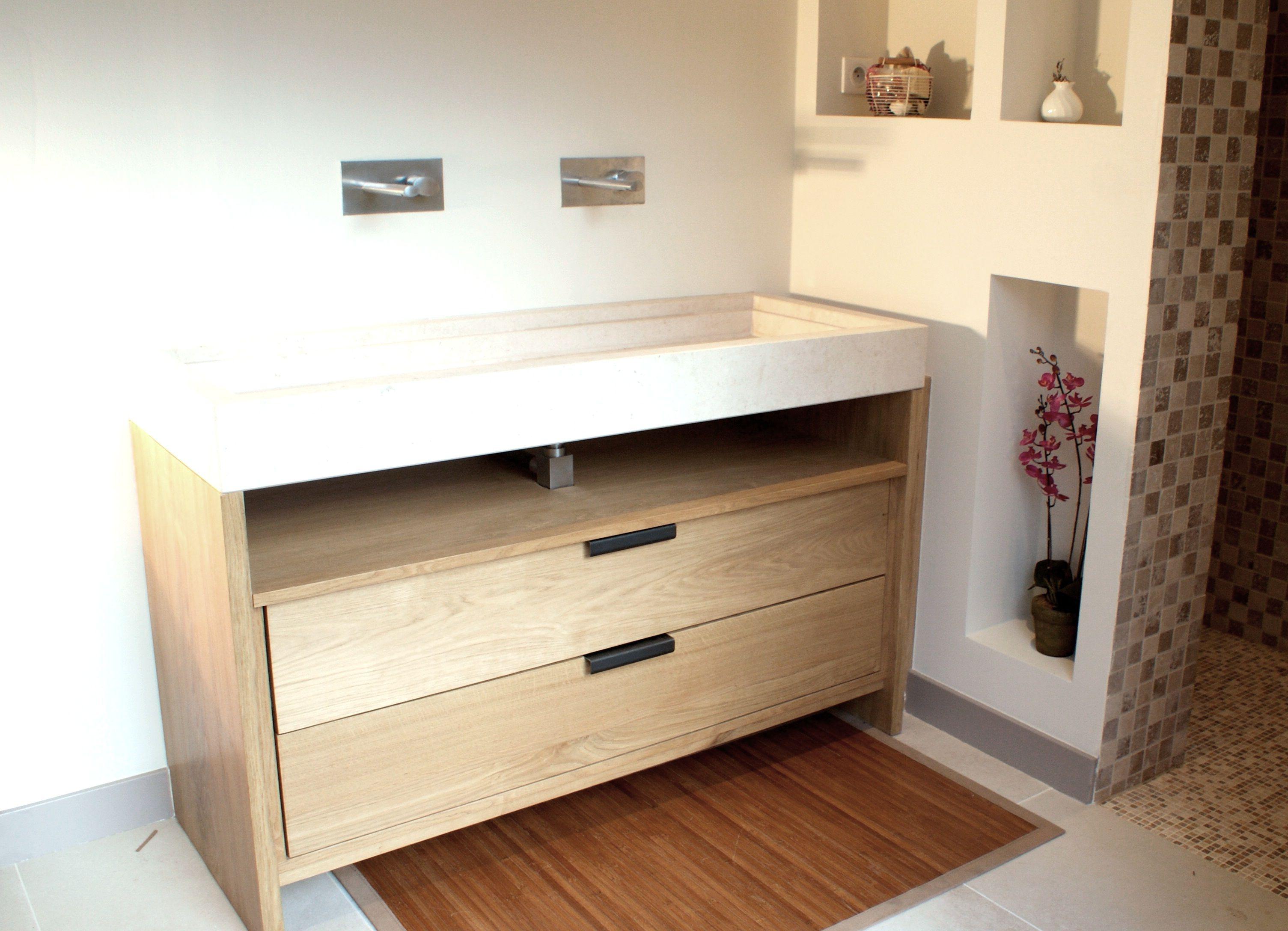 réalisation de meuble de salle de bain sur mesure, avec vasque
