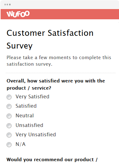 Customer Satisfaction Survey Customer Satisfaction Survey