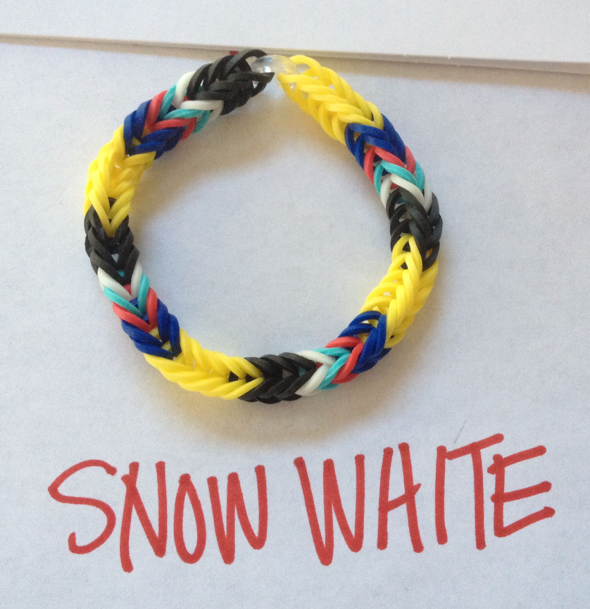Disney Theme Rubber Band Bracelet Snow White Rainbow