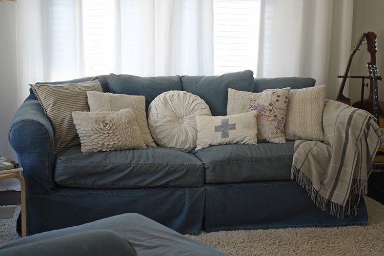 Decorations Dark Blue Big Couch With Vintage Pillow How To